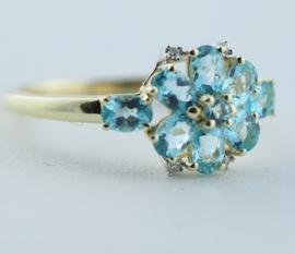 9ct Apatite & Diamond Ring