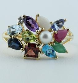 9ct Multi Stone Dress Ring