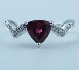 9ct Rubellite & Diamond Ring