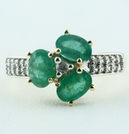 Emerald & White Topaz Ring