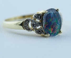 Opal Triplet & Diamond Ring