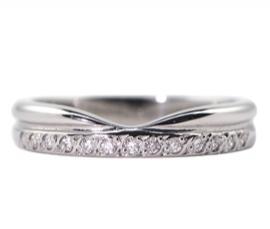 Platinum .10ct Diamond Set Shaped Band