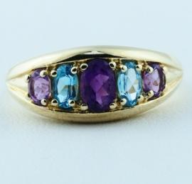 Swiss Blue Topaz & Amethyst Ring