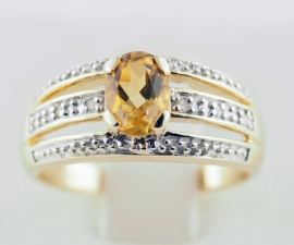 9ct Citrine & Diamond Ring