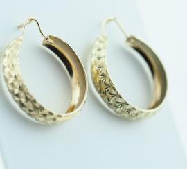 9ct Diamond Cut Hoop Earrings
