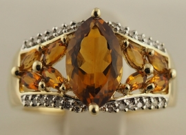9ct Diamond & Citrine Ring