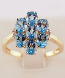 9ct Diamond & Topaz Ring
