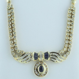 9ct Sapphire & Diamond Necklace