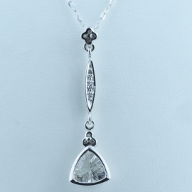 9ct White Gold Pendant & Chain